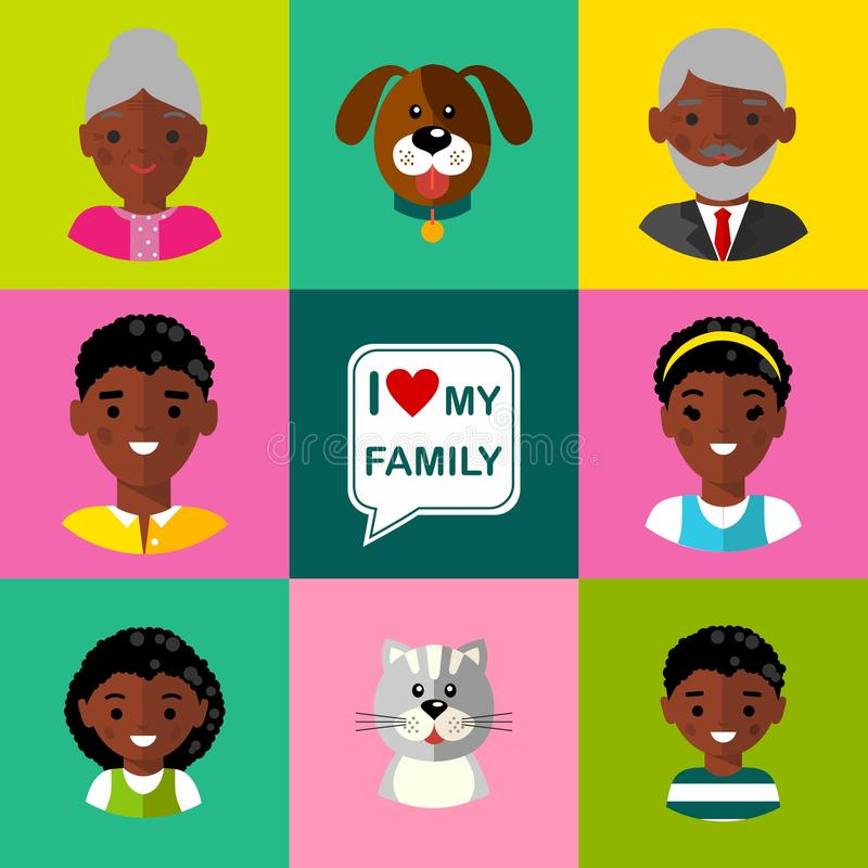 Ensemble de grands-parents d'icônes de famille, parents, enfants, chat, chien illustration de vecteur