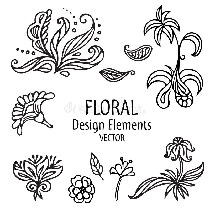 Ensemble de graphique de vintage d'éléments floraux formes florales sur le fond blanc Illustration de vecteur illustration libre de droits
