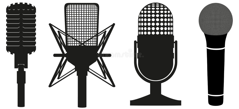 Ensemble de graphisme de silhouette noire de microphones illustration de vecteur