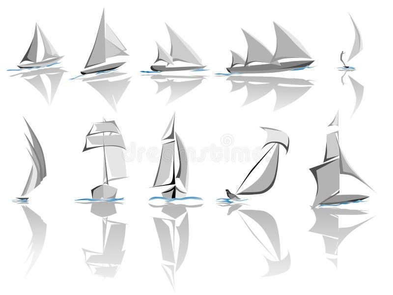 Ensemble de graphisme différent de bateaux de navigation (vecteur simple) illustration libre de droits
