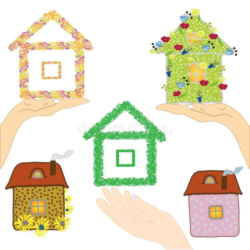 Ensemble de graphismes avec des maisons illustration de vecteur