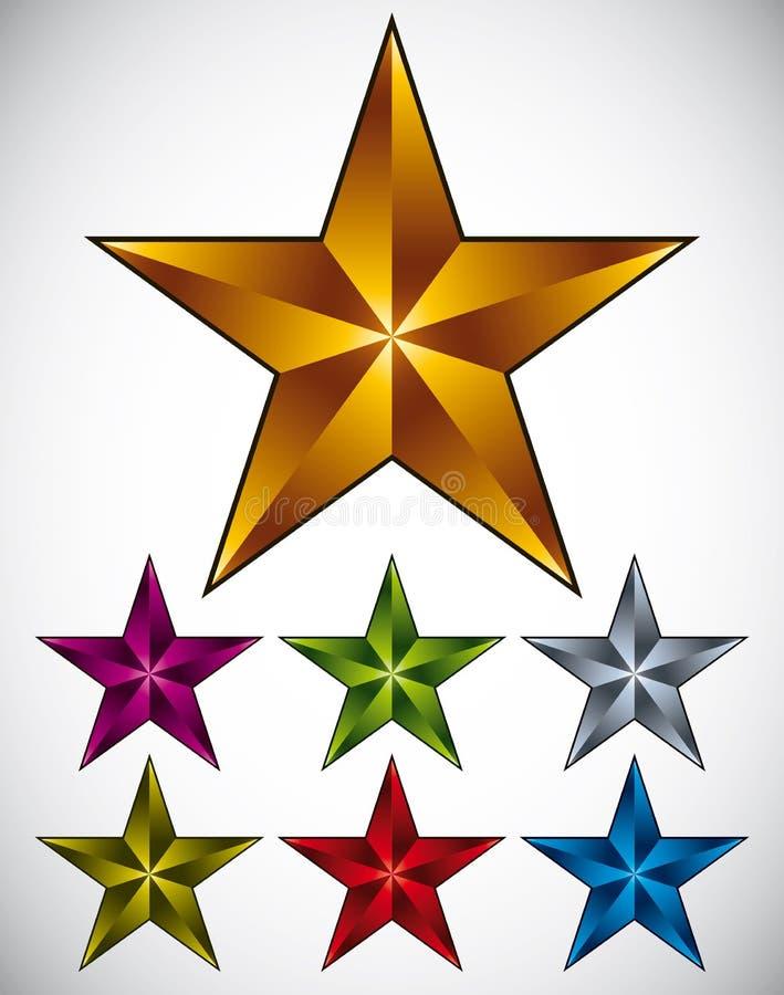 Ensemble de graphismes brillants d'étoile illustration stock