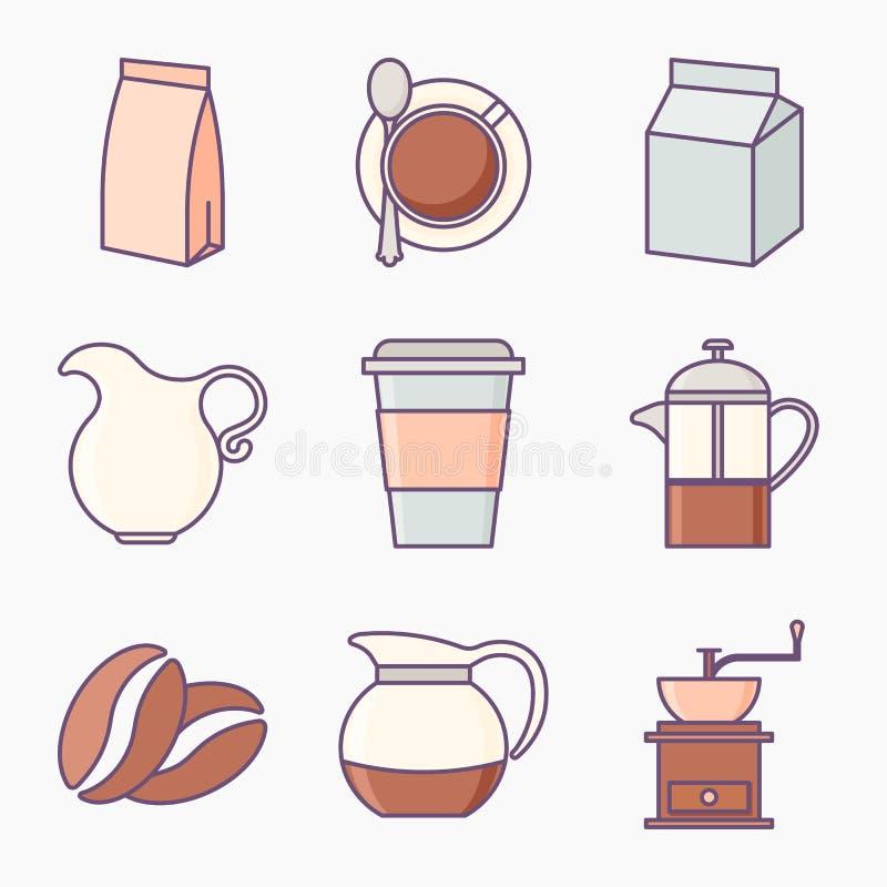 Ensemble de graphismes de café illustration libre de droits
