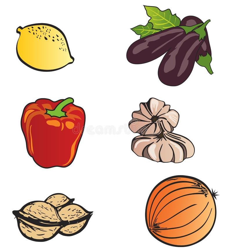 Ensemble de graphismes de fruits et légumes illustration de vecteur