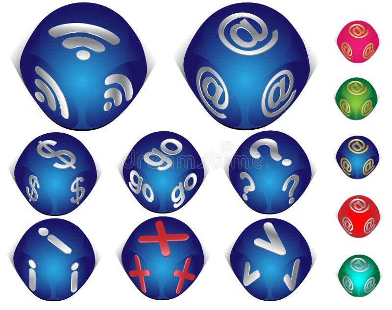 Ensemble de graphismes de l'Internet 3d illustration stock