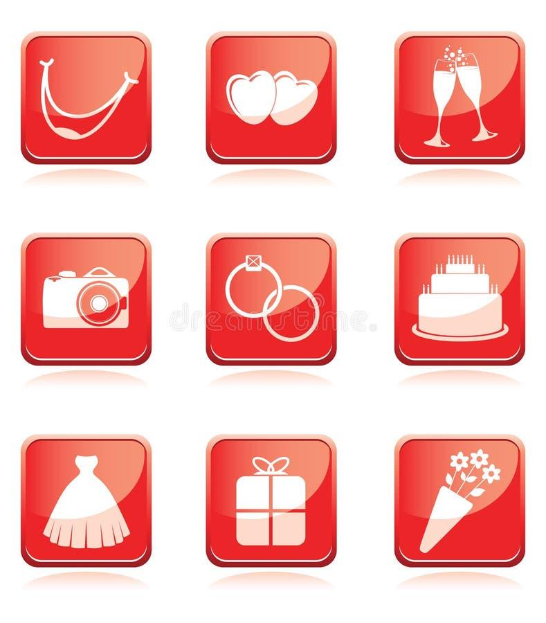 Ensemble de graphismes de mariage illustration de vecteur