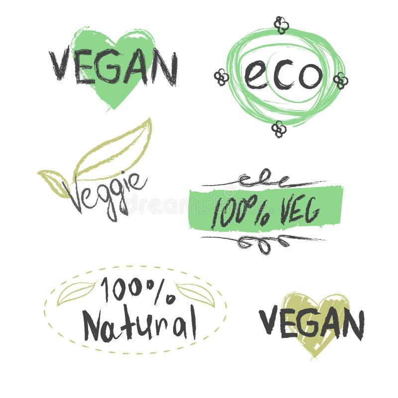 Ensemble de graphismes de vecteur 100% bio, mangent des gens du pays, nourriture saine, cultivent la nourriture fraîche, eco, bio illustration de vecteur
