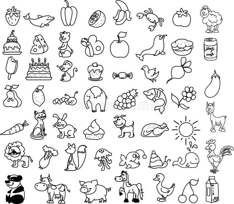 Ensemble de graphismes des animaux, nourriture, nature, vecteur illustration stock