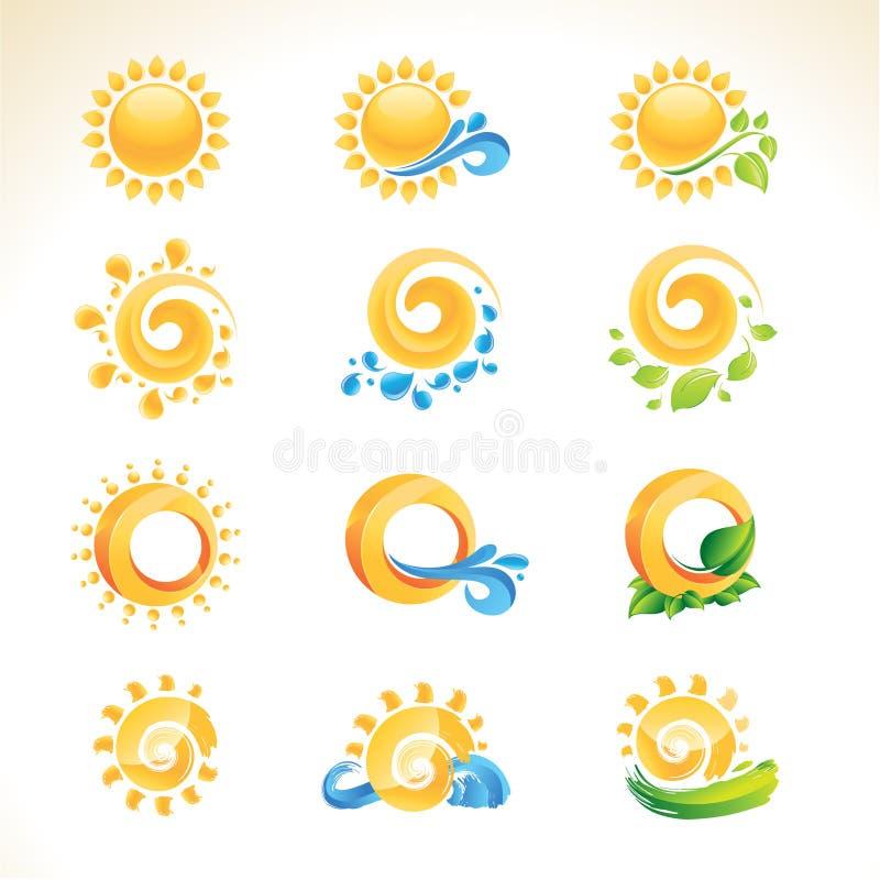Ensemble de graphismes du soleil illustration libre de droits