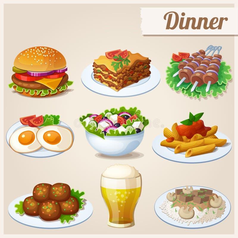 Ensemble de graphismes de nourriture dîner illustration stock