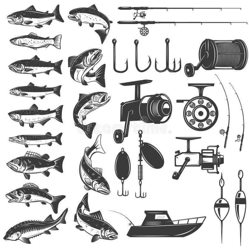 Ensemble de graphismes de pêche Icônes de poissons, cannes à pêche Concevez l'élément pour le logo, label, emblème, signe illustration libre de droits