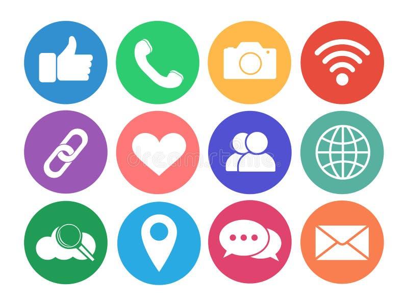 Ensemble de graphismes sociaux de réseau Graphismes d'Internet illustration de vecteur