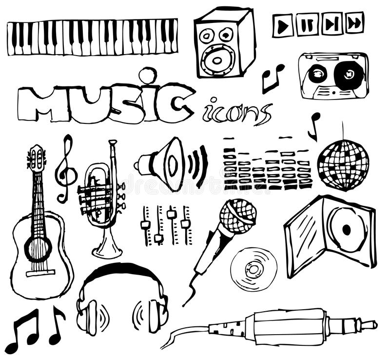 Ensemble de graphismes tirés par la main de musique illustration stock