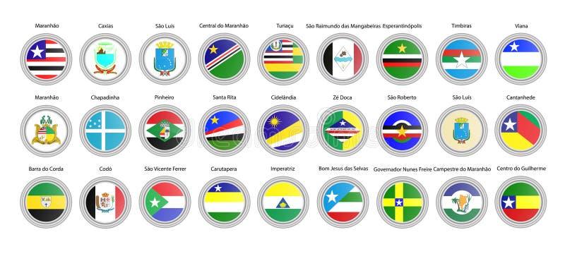 Ensemble de graphismes de vecteur Drapeaux d'état de Maranhao, Brésil illustration stock