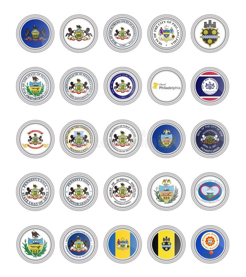Ensemble de graphismes de vecteur Drapeaux et joints d'état de la Pennsylvanie, Etats-Unis illustration de vecteur