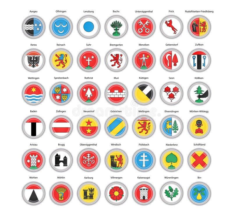 Ensemble de graphismes de vecteur Municipalités des drapeaux de canton d'Argovie, Suisse illustration stock