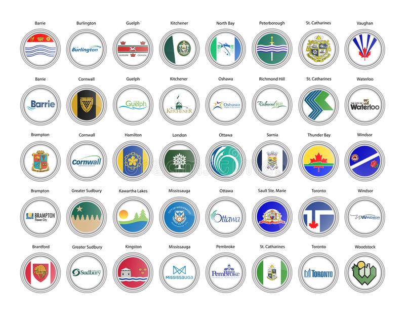 Ensemble de graphismes de vecteur Villes de province d'Ontario de drapeaux du Canada illustration stock