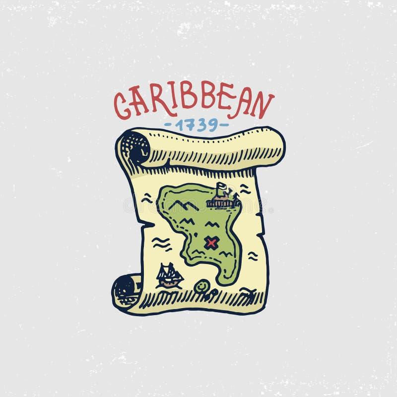 Ensemble de graver, tiré par la main, vieux, labels ou insignes pour des corsaires, carte pour priser, île des Caraïbes Pirates m illustration libre de droits