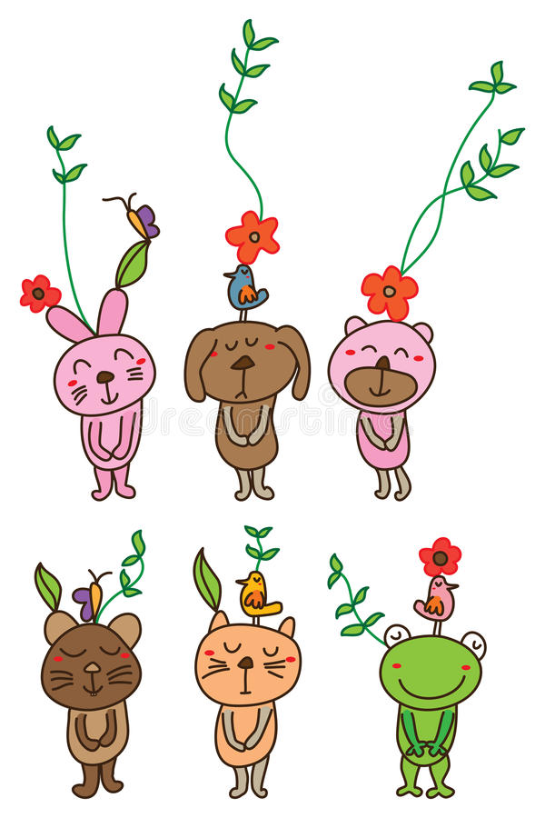Ensemble de grenouille de chat de souris d'ours de chien de lapin illustration de vecteur