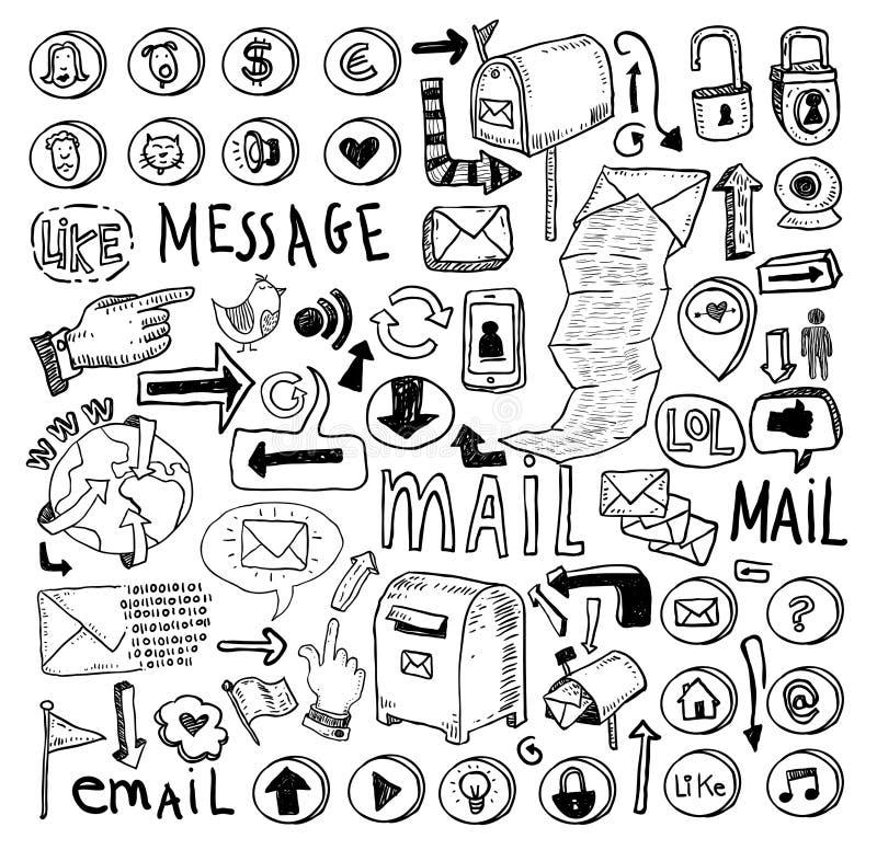 Ensemble de griffonnage d'email illustration tirée par la main de vecteur illustration stock