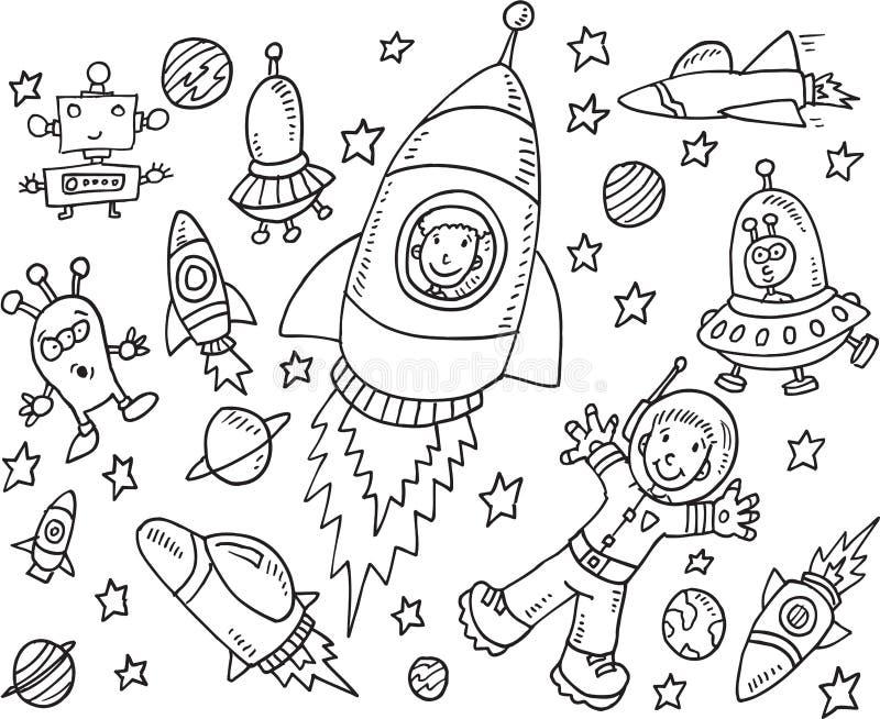 Ensemble de griffonnage d'espace extra-atmosphérique illustration libre de droits