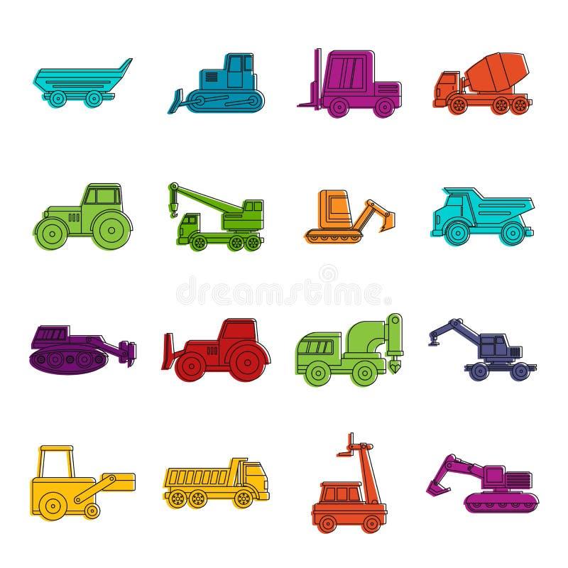 Ensemble de griffonnage d'icônes de véhicules de bâtiment illustration libre de droits