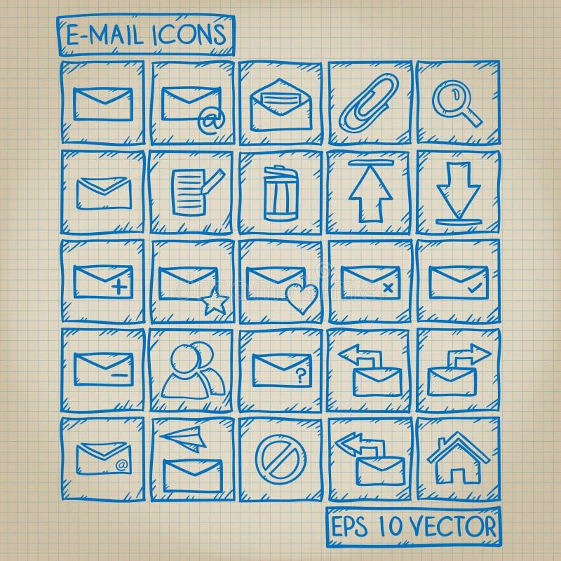 Ensemble de griffonnage d'icône d'email illustration libre de droits