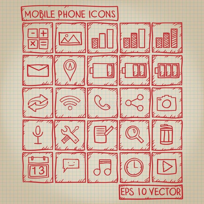 Ensemble de griffonnage d'icône de téléphone portable illustration stock
