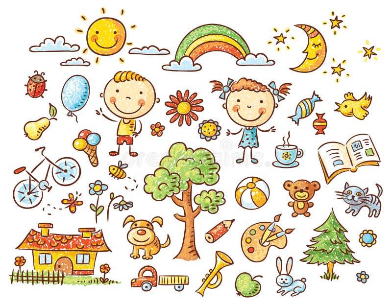 Ensemble de griffonnage d'objets de la vie d'un enfant illustration de vecteur
