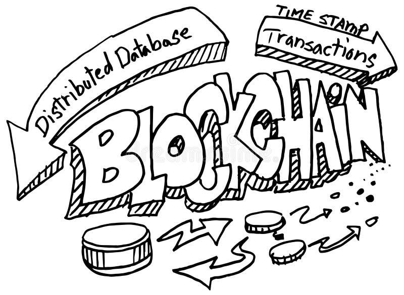 Ensemble de griffonnage de Blockchain illustration libre de droits