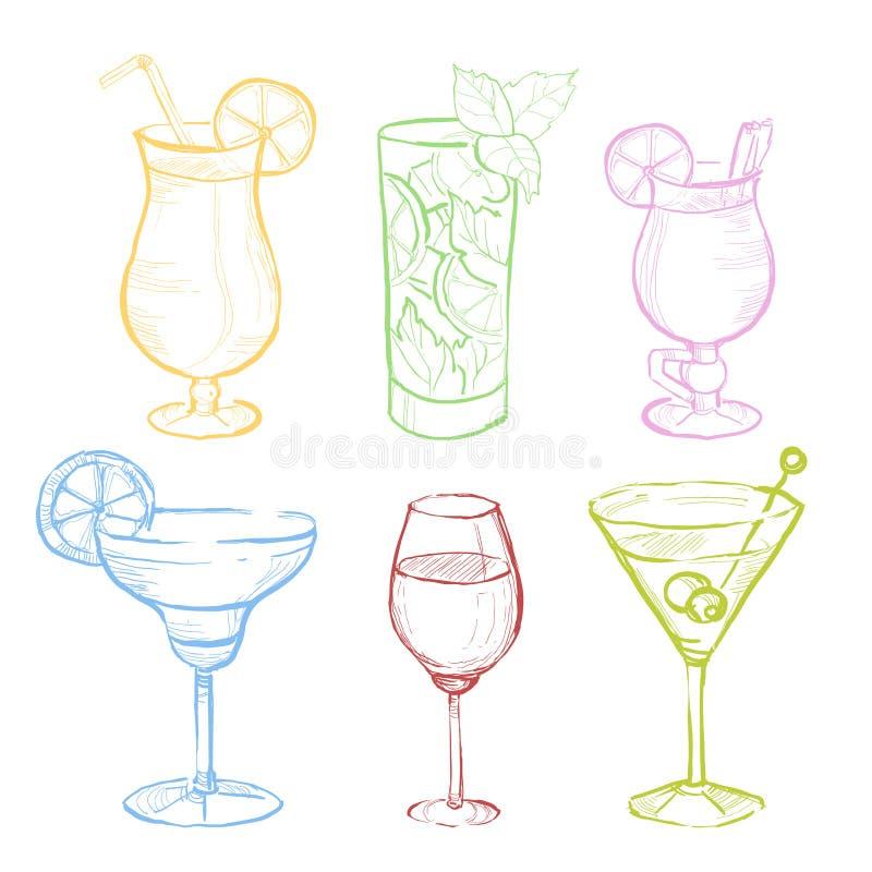Ensemble de griffonnage de boissons Illustration tirée par la main de vecteur illustration stock