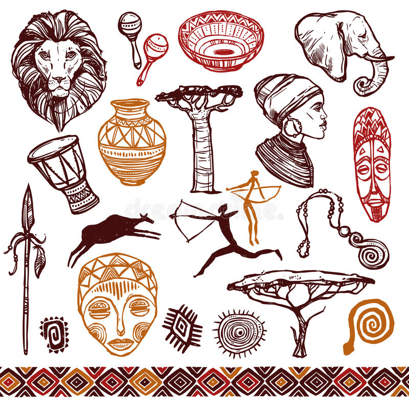 Ensemble de griffonnage de l'Afrique illustration de vecteur