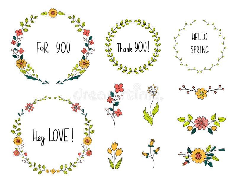 Ensemble de griffonnage de fleur Collection d'éléments floraux et lettres, compositions et guirlande tirées par la main Conceptio illustration stock