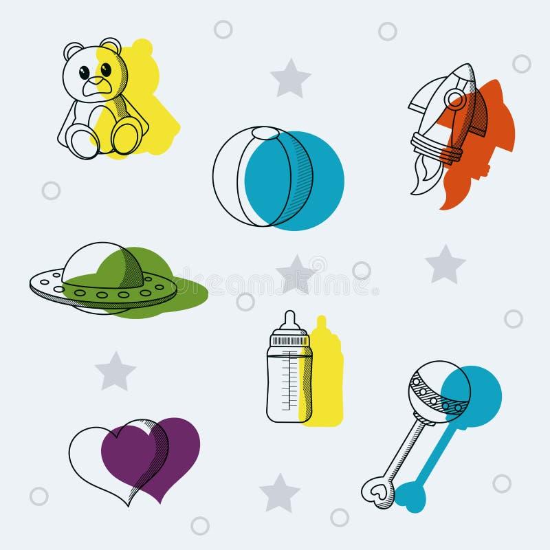 Ensemble de griffonnages de jouets de bébé illustration de vecteur