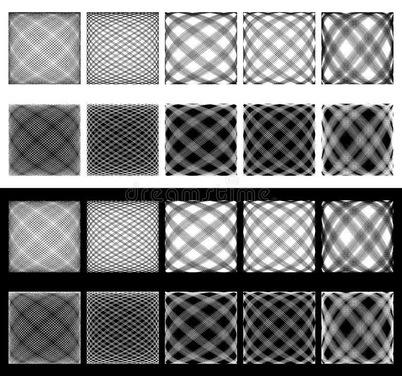 Ensemble de grilles irrégulières, mailles Lignes de intersection avec le spherica illustration libre de droits
