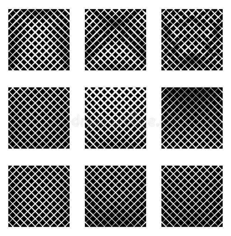 Ensemble de 9 grilles, mailles Ensemble d'éléments monochromes, milieux, illustration libre de droits