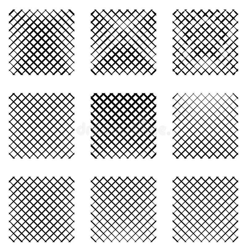 Ensemble de 9 grilles, mailles Ensemble d'éléments monochromes, milieux, illustration de vecteur