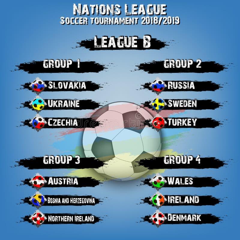 Ensemble de groupe d'équipe de football Ligue de nations illustration stock