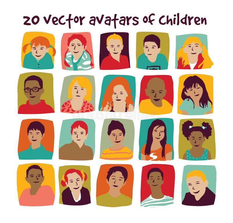 Ensemble de groupe d'avatars d'enfants illustration de vecteur