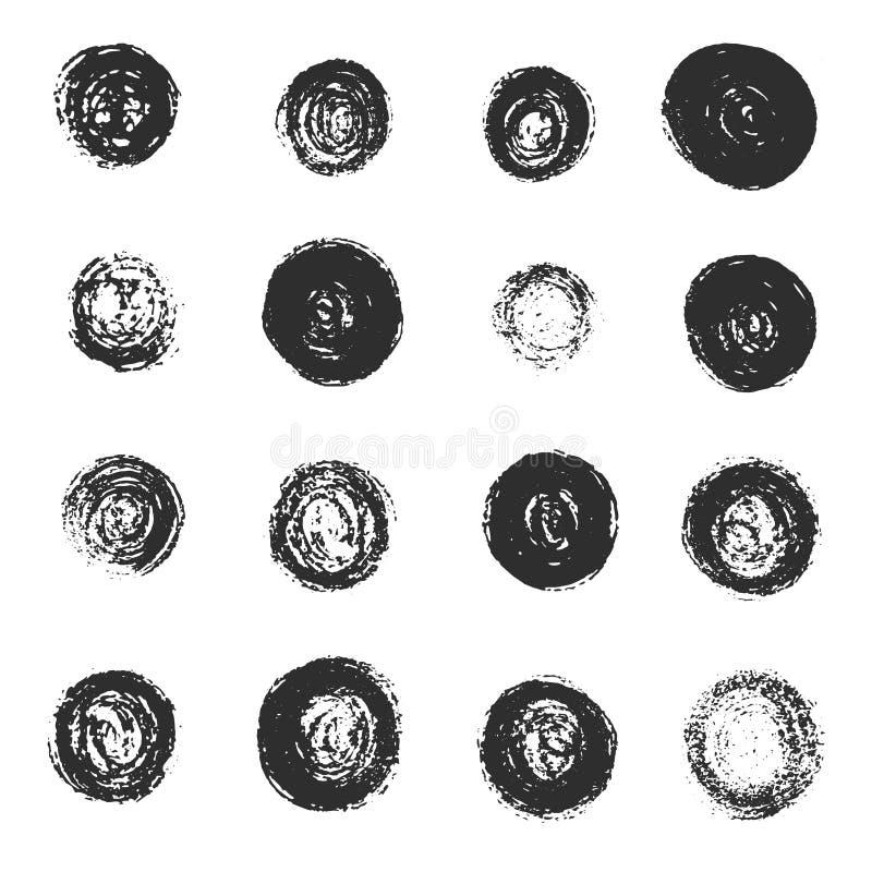 Ensemble de grunge noir rayé autour des textures illustration stock