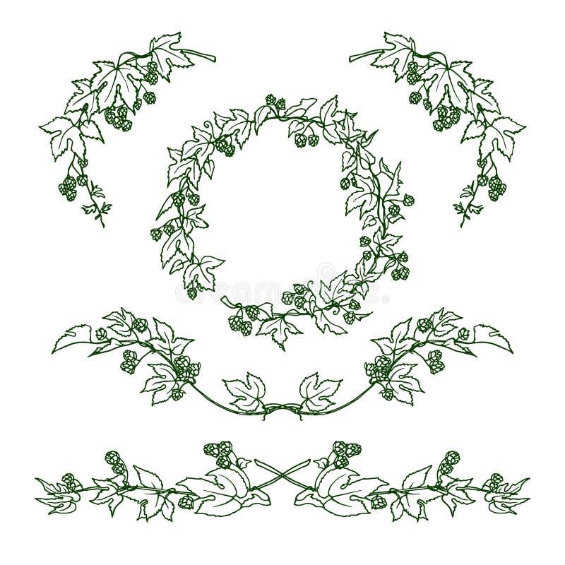 Ensemble de guirlande d'houblon illustration stock