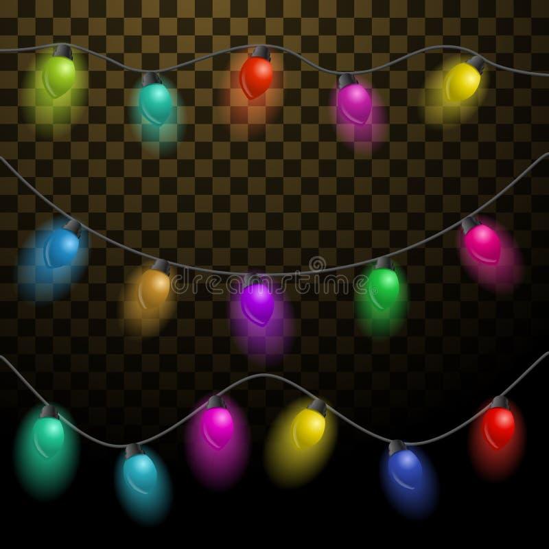 Ensemble de guirlandes multicolores Belles décorations de vacances Lumières de Noël sur le fond transparent illustration de vecteur
