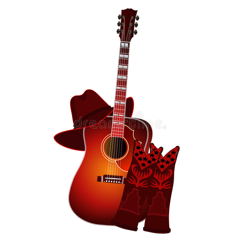Ensemble de guitare acoustique, de bottes de cowboy et de chapeau de cowboy d'isolement sur le fond blanc Illustration du vecteur illustration stock