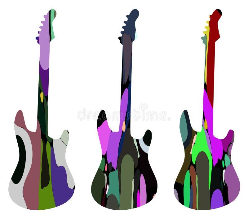 Ensemble de guitares colorées stylisées d'isolement illustration de vecteur