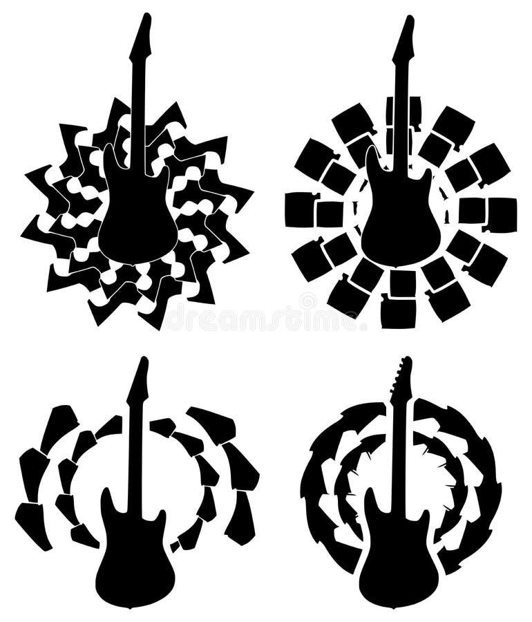 Ensemble de guitares sur la décoration noire abstraite illustration stock