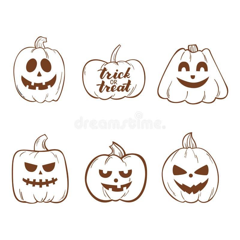 Ensemble de Halloween avec des potirons de griffonnage de Drawning de main pour Halloween illustration de vecteur