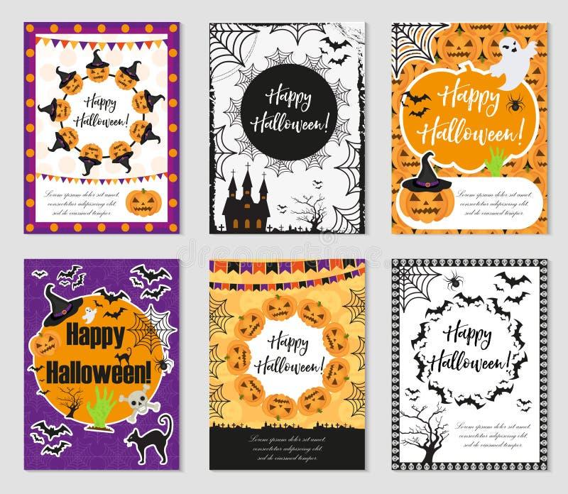 Ensemble de Halloween d'affiches à la mode Collection heureuse de Halloween de calibres pour votre conception de l'invitation, ca illustration stock