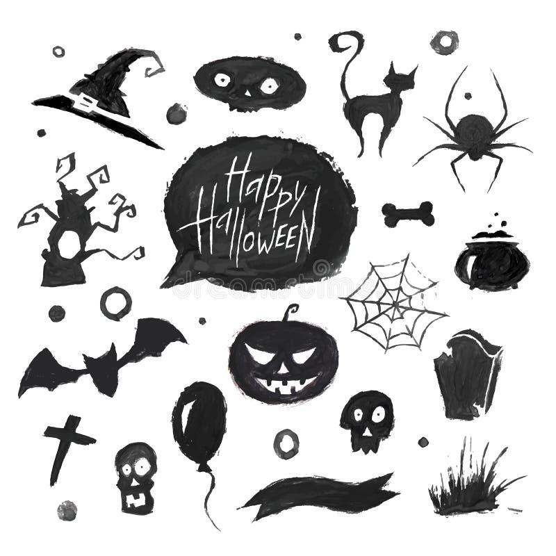 Ensemble de Halloween d'aquarelle illustration de vecteur