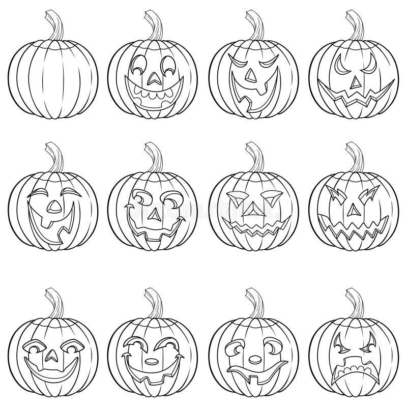 Ensemble de Halloween de douze contours de potiron illustration stock