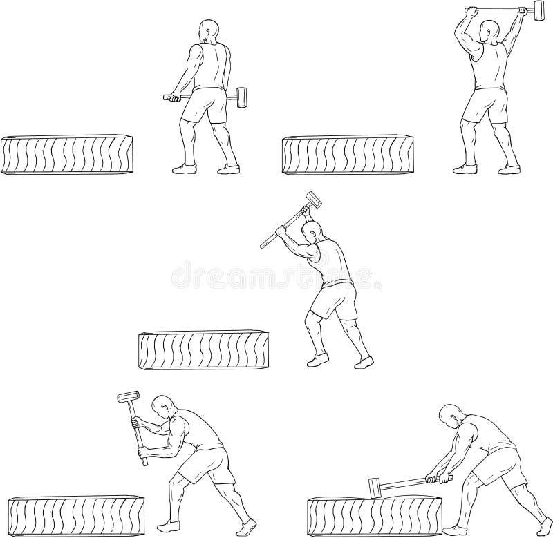 Ensemble de Hammer Workout Collection d'athlète de forme physique illustration de vecteur